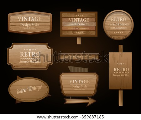 Realistic vector wood sign and banner isolated on black - stock vector