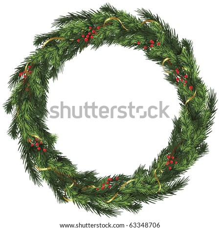 Realistic vector wreath with gold ribbon and red berries on evergreen branches - stock vector