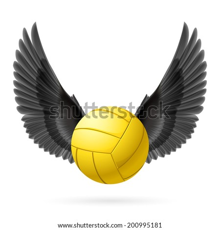 Realistic volley ball with black wings emblem - stock vector