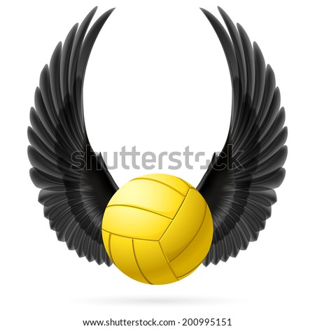 Realistic volley ball with raised up black wings emblem - stock vector