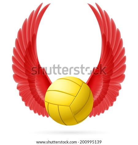 Realistic volley ball with raised up red wings emblem - stock vector
