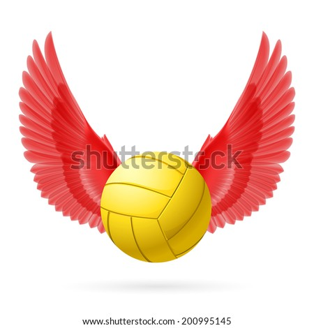 Realistic volley ball with red wings emblem - stock vector