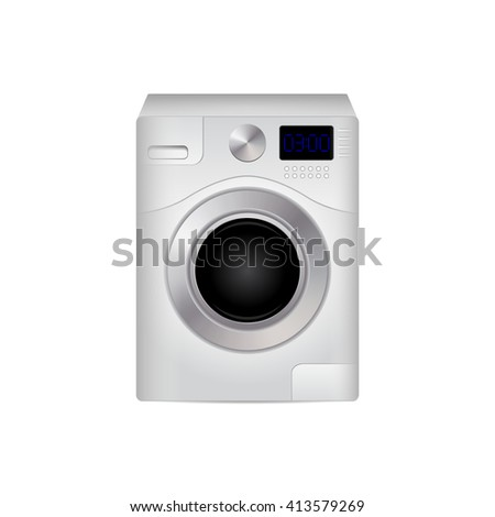 Realistic washing machine on a white background. Vector illustration. Icon, logo, element for design.