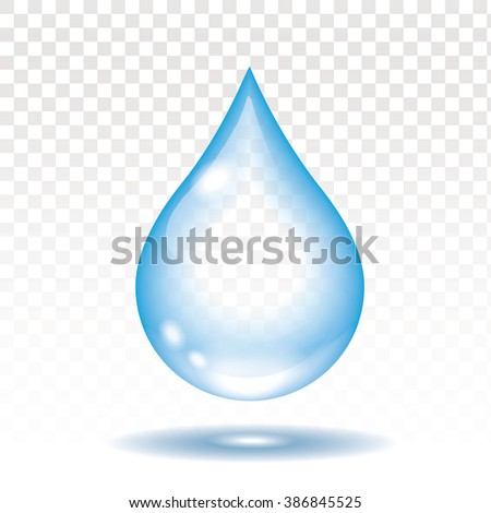 Realistic water drop isolated vector illustration,  transparency - stock vector