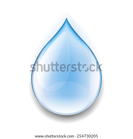 Realistic Water Drop With Gradient Mesh, Vector Illustration