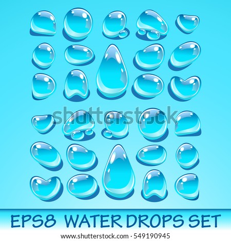 Realistic water drops set. Useful for aqua icons. Vector EPS8 illustration. No transparent objects