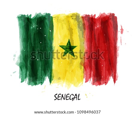 Realistic Watercolor Painting Flag Senegal Vector Vector De