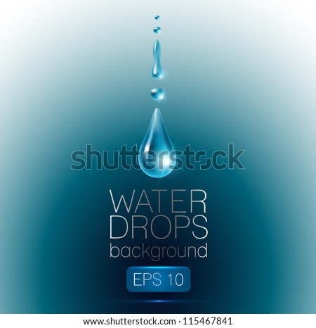 Realistic waterdrops on dark-blue background - vector illustration. - stock vector