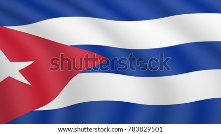 Realistic waving flag of Cuba. Current national flag of Republic of Cuba. Illustration of lying wavy shaded flag of Cuba country. Background with cuban flag.