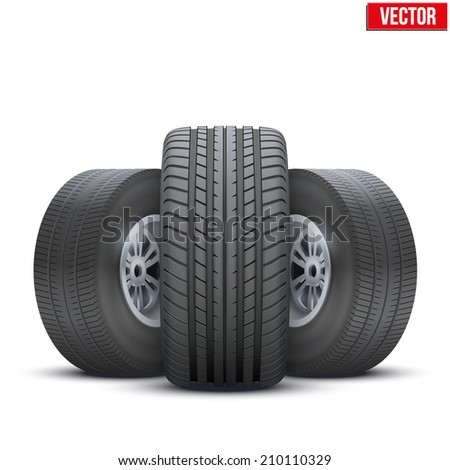Realistic wheels and tire symbol. Front view. Vector Illustration isolated on white background. - stock vector