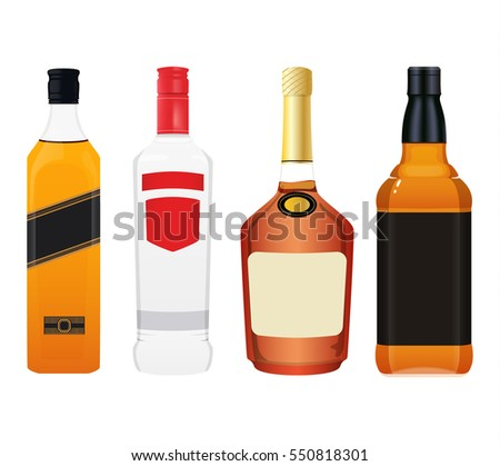 Realistic Whiskey Congnac Vodka Alcohol Bottles Vector issolated on white