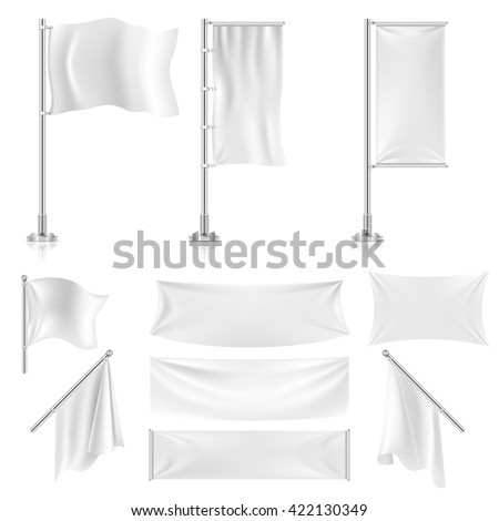 Realistic white advertising textile flags and banners vector set. Advertising flag banner and fabric canvas poster for advertising  illustration - stock vector
