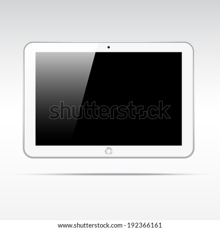 Realistic white android tablet computer isolated on light background. Blank screen - stock vector