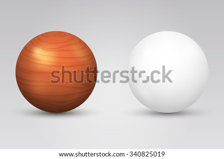 Realistic white ball and wooden sphere. Round shape, geometry globe figure, vector illustration - stock vector
