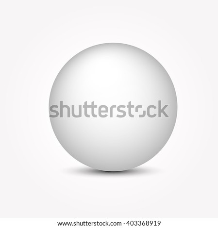 Realistic white ball. Vector illustration.