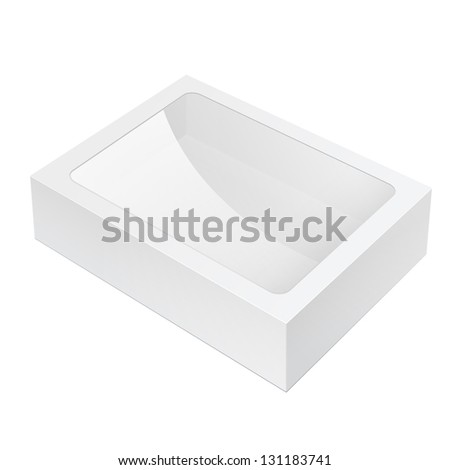 Realistic White Black Package Box lying with a transparent plastic window. For Software, electronic device and other products. Vector illustration - stock vector