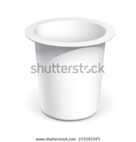 Realistic White blank plastic container for yogurt, jams and other products. - stock vector