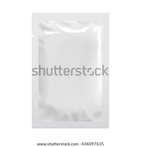 Realistic White Blank template Packaging Foil wet wipes Pouch Medicine. Food Packing Coffee, Salt, Sugar, Pepper, Spices, Sweets. Template For Mock up Your Design. vector illustration. - stock vector
