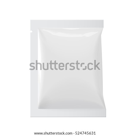 Realistic White Blank template Packaging Foil wet wipes Pouch Medicine. Food Packing Coffee, Salt, Sugar, Pepper, Spices, Sweets. Template For Mock up Your Design. vector illustration.