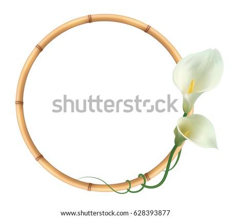 Realistic White Calla Lily Bamboo Frame Stock Vector 628393877 ...