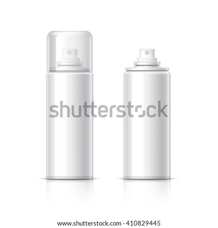 Realistic White Cosmetics bottle can Spray, Deodorant, Air Freshener. With lid and without. Object, shadow, and reflection on separate layers. Vector illustration - stock vector