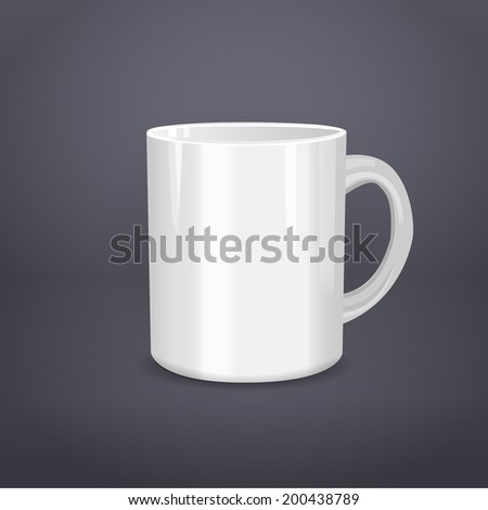 Realistic white cup on gray. Vector illustration - stock vector