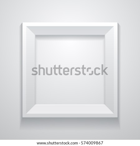 realistic white frame on a clean wall vector illustration template for your design - White Frame