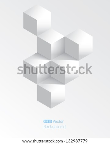 Realistic white geometrical background with cubes - stock vector