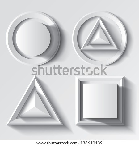Realistic white geometrical shape set - stock vector