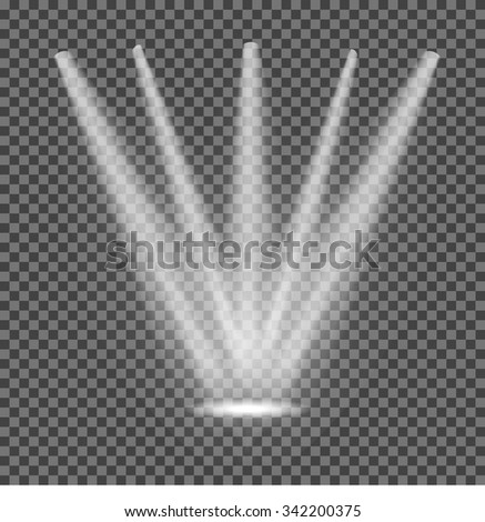 Realistic white gray glowing spotlights on transparent laid background. Theater studio, scene illumination. Magic, bright, gradient light effects. Vector illustration for your design and business. - stock vector