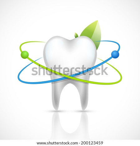Realistic white healthy tooth isolated on white background vector illustration - stock vector