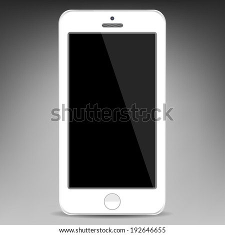 Realistic white mobile phone with a blank screen . Vector  illustration  - stock vector
