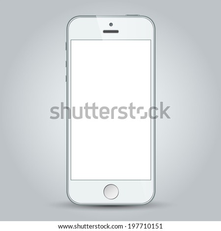 Realistic white mobile phone with blank screen in similar to iphone style isolated on gray. Vector EPS10 - stock vector