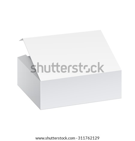 Realistic White Package Box. For For, Software, electronic device and other products. Vector illustration. - stock vector