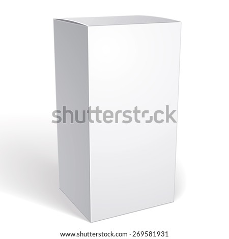 Realistic white package box for products, put your design over the pack in multiply mode, isolated on white background, vector illustration eps 8. - stock vector