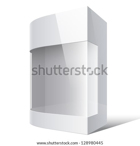 Realistic White Package Box with rounded corner and transparent plastic window. For Software, electronic device. On separate layers box, transparent plastic window, light patches and shadow. Vector - stock vector