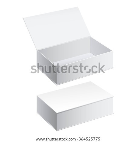 Realistic White Package Cardboard Box set. For Software, electronic device and other products. Vector illustration. - stock vector