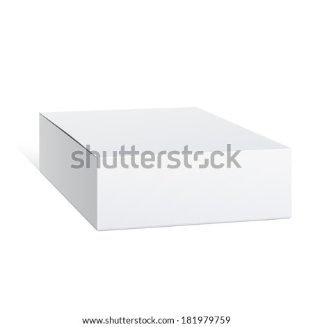 Realistic White Package carton Box. For Software, electronic device and other products. Vector illustration. - stock vector