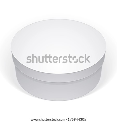Realistic white round package box for products, put your design over the pack in multiply mode, isolated on white background, vector illustration eps 8. - stock vector