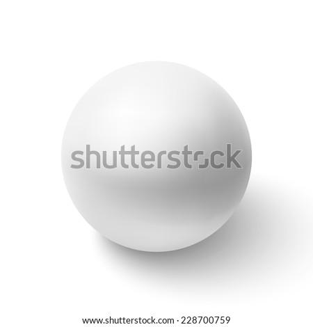 Realistic white sphere. Vector illustration - stock vector
