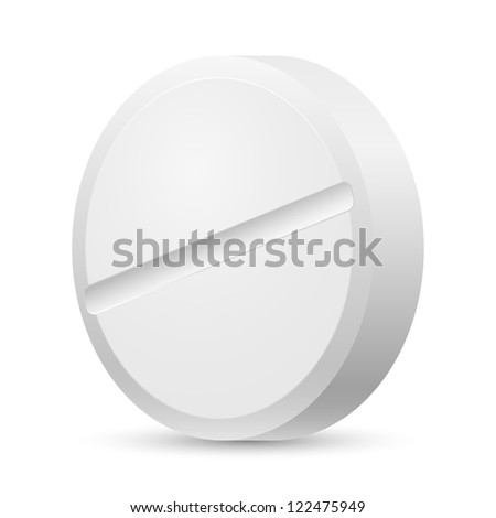 Realistic white tablet. Illustration of designer on a white background.