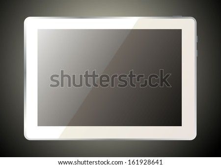 Realistic white tablet pc computer  - stock vector