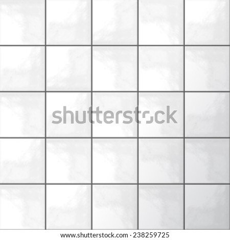 Realistic white tiles pattern texture in vector format - stock vector