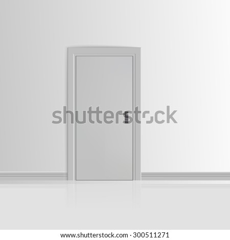 Realistic White Wall with Door Vector illustration - stock vector