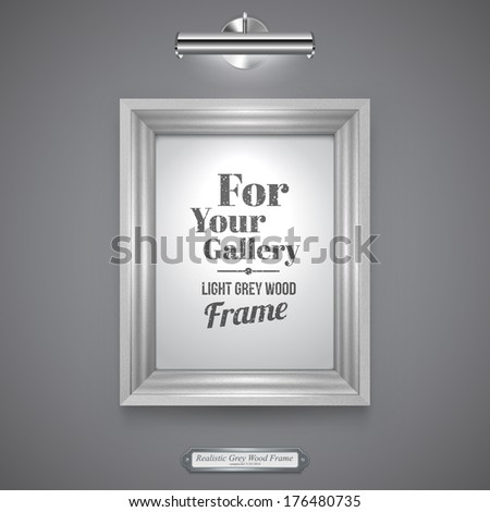 Realistic, White Wood Frame for Picture, Rectangle Wood Border and Lamp on a Wall. - stock vector