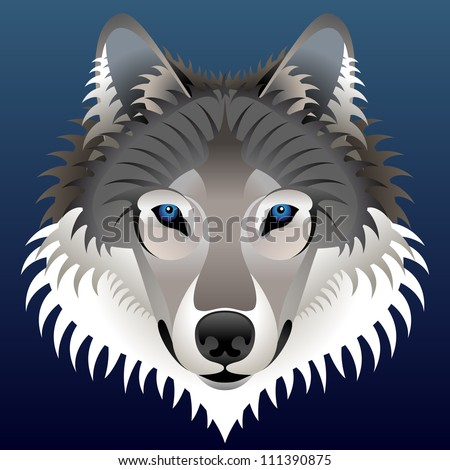 Realistic wolf's face. Vector wolf head front view - stock vector