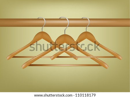 Realistic Wood Coat Hangers on wood tube - stock vector
