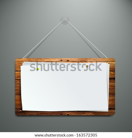 realistic wooden flip chart on the wall. ready for your text. eps10 - stock vector