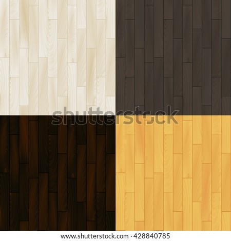 Realistic wooden floor parquet seamless patterns set, vector - stock vector