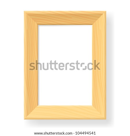 Realistic wooden frame. The form number two.  Illustration on white background - stock vector